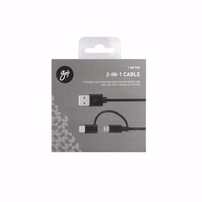 Picture of Trade Goji 2 in 1 USB Type-C and Micro USB 1m Cable in Black